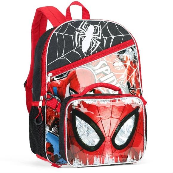 Marvel Spiderman Backpack Kids' Clothes, Shoes & Accs. Detachable Pencil Case Travel Lunch Bag Rucksack